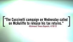 cuccinelli calls for mcauliffe's tax returns, deploys obama tactics